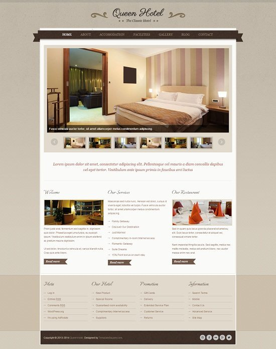 Queen Hotel - Classic and Elegant WordPress Theme
