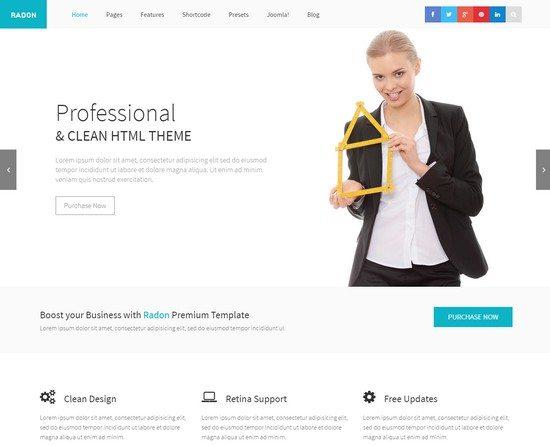Radon Startup & Business Responsive Joomla Template