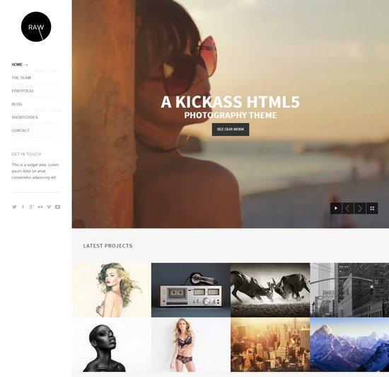 Raw – Responsive Photography WordPress Theme