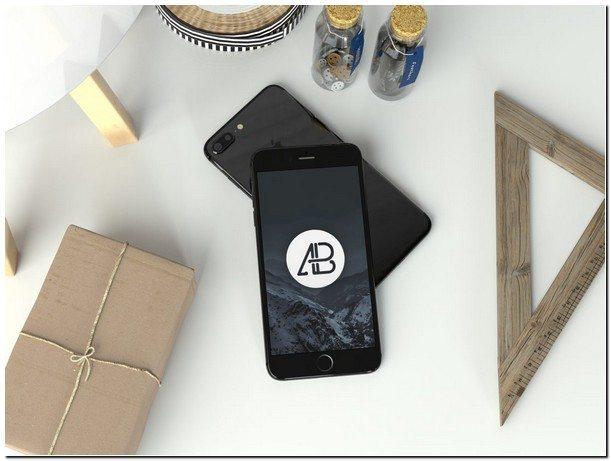 Realistic Jet Black iPhone 7 Plus Mockup
