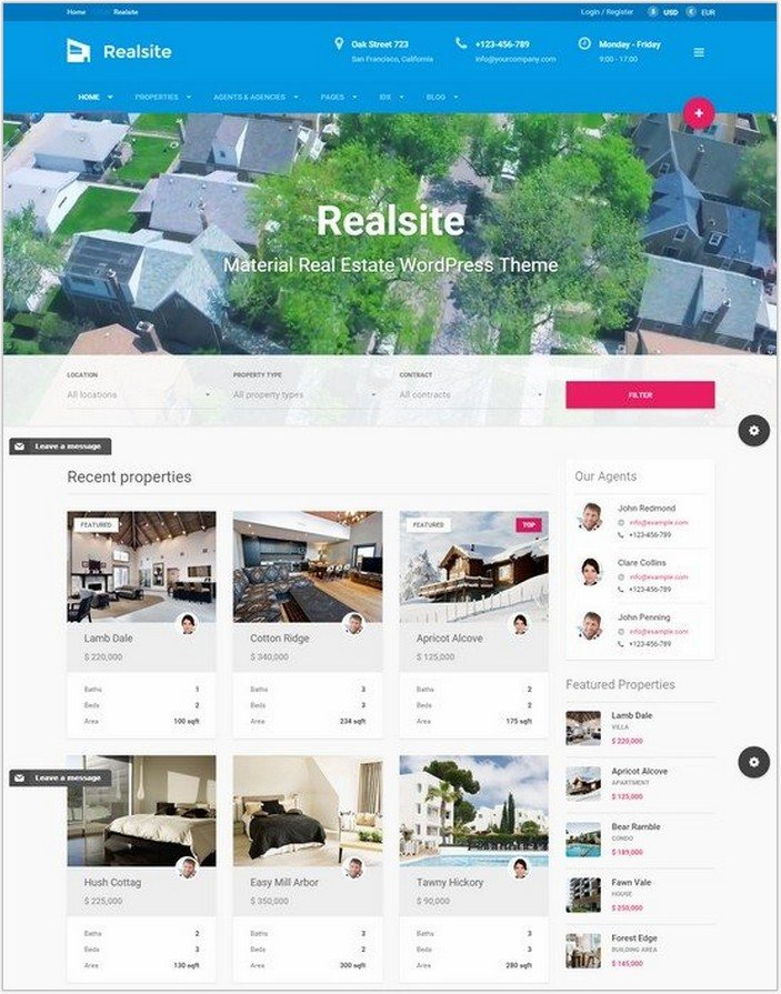 Realsite – Material Real Estate WordPress Theme