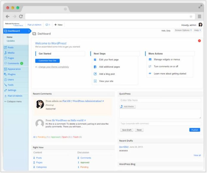 Rebrand WordPress Admin Theme - Modern Flat UI