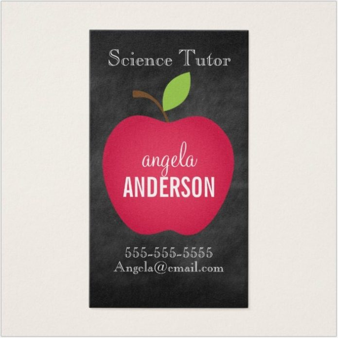 Red Apple Chalkboard Teacher Business Card