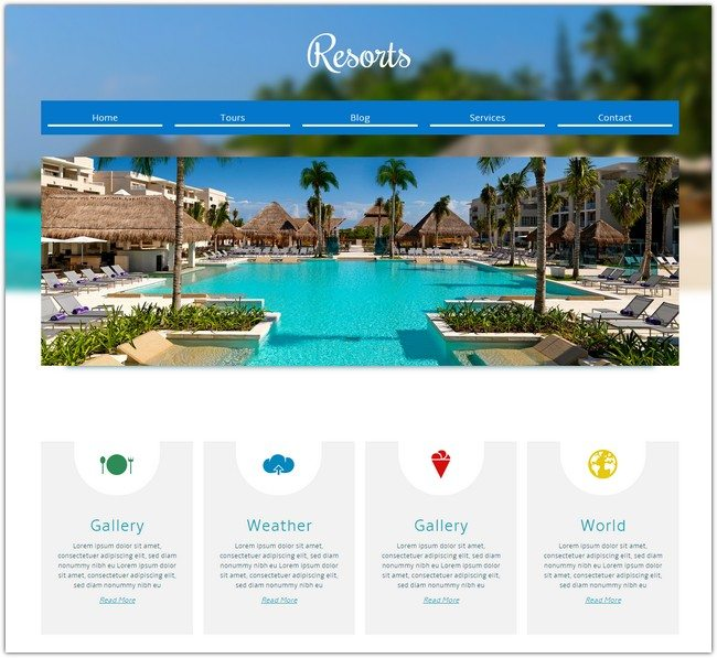Resorts a Hotel Mobile Website Template
