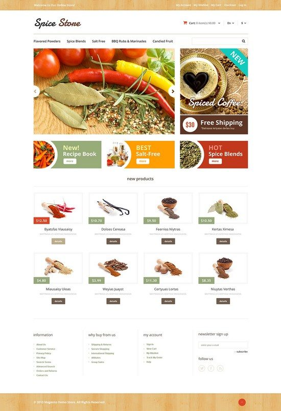 Responsive Spice Store Magento Theme