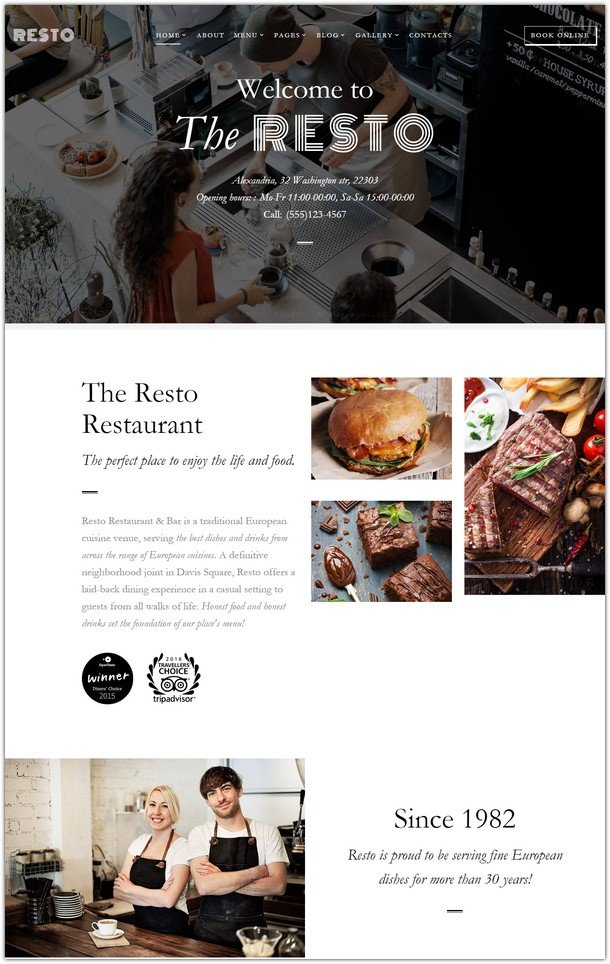 Resto - Cafe & Restaurant Multipage Website Template