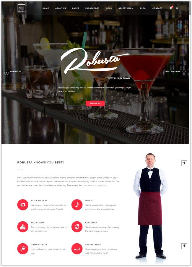 Robusta - Restaurant, Bar, Pub WordPress Theme