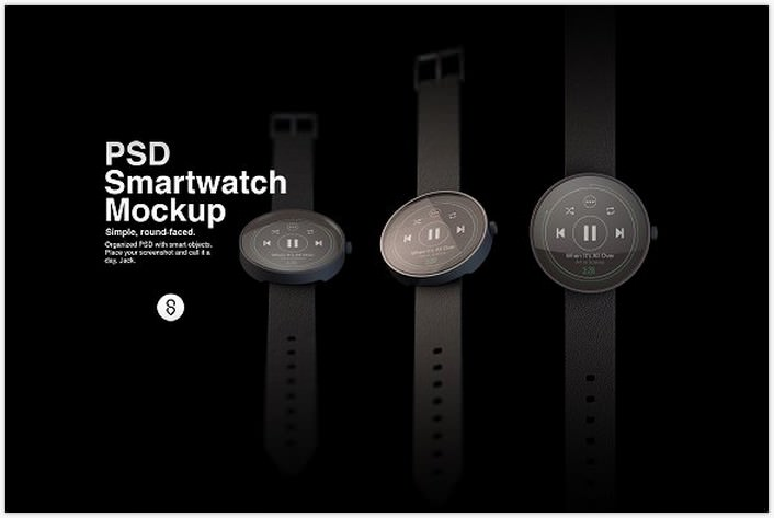 Round-Faced Smartwatch Mockup