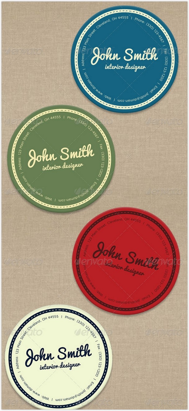 Round Vector Business Card Template