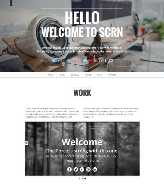 SCRN - Responsive one page single page portfolio