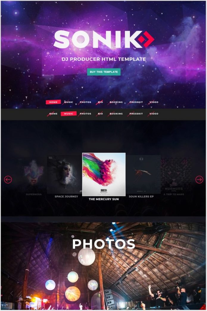 SONIK Professional One Page DJ HTML Template