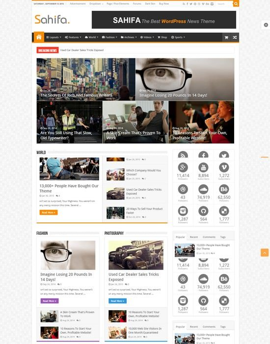 Sahifa - Responsive WordPress News, Magazine, Blog Theme