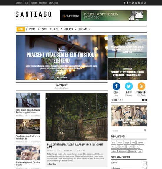 Santiago - Responsive WordPress Magazine Theme