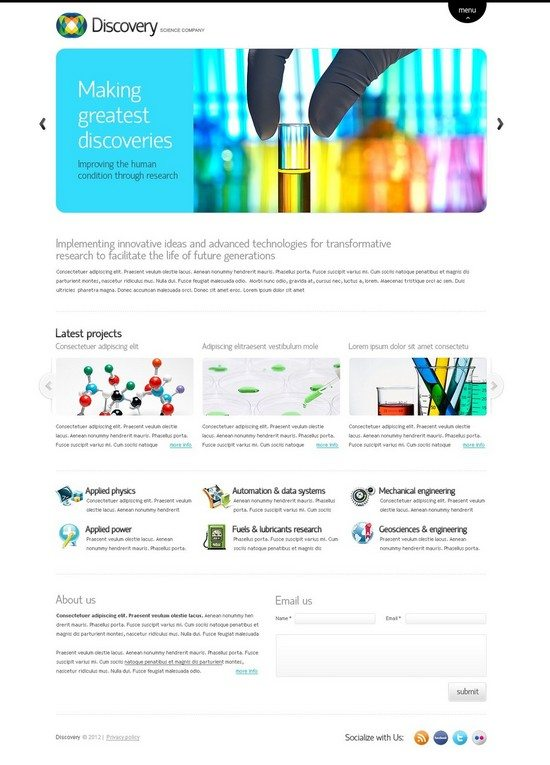 Science Lab Website Template