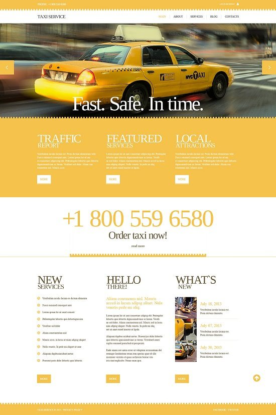 Services Taxi Responsive Website Template