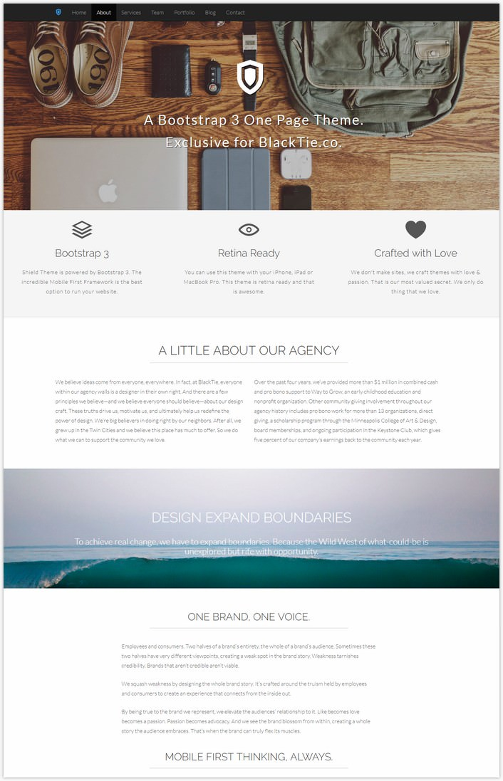 Shield – One Page Theme