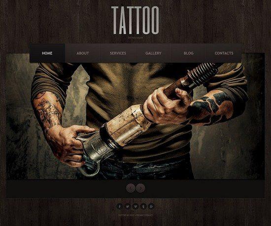 Skeuomorphism Tattoo Salon Joomla Template