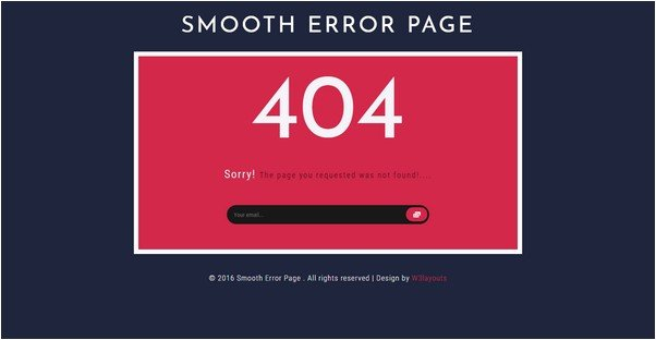 Smooth Error Page Flat Responsive Widget Template