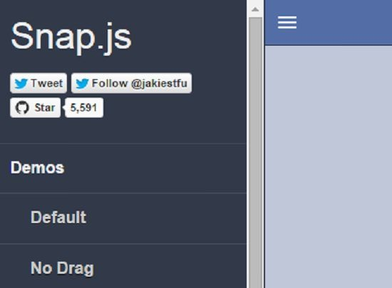 Snap.js (Facebook and Path style side menus)