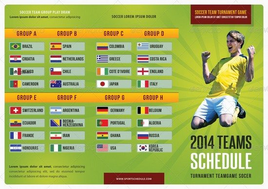 Soccer Match Schedule 2014 3-Fold Brochure