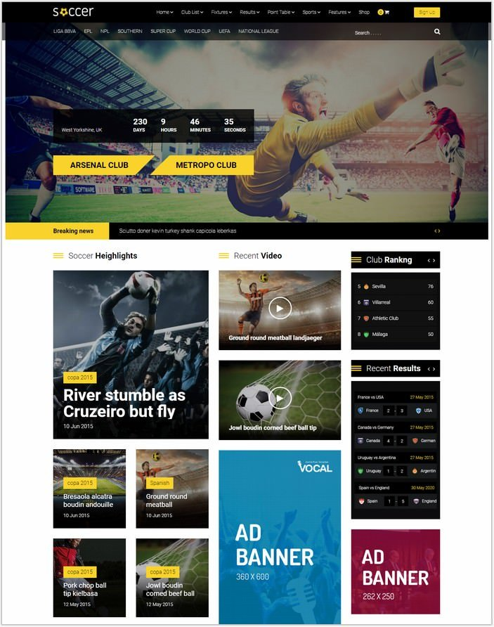 Soccer - Sport WordPress Theme