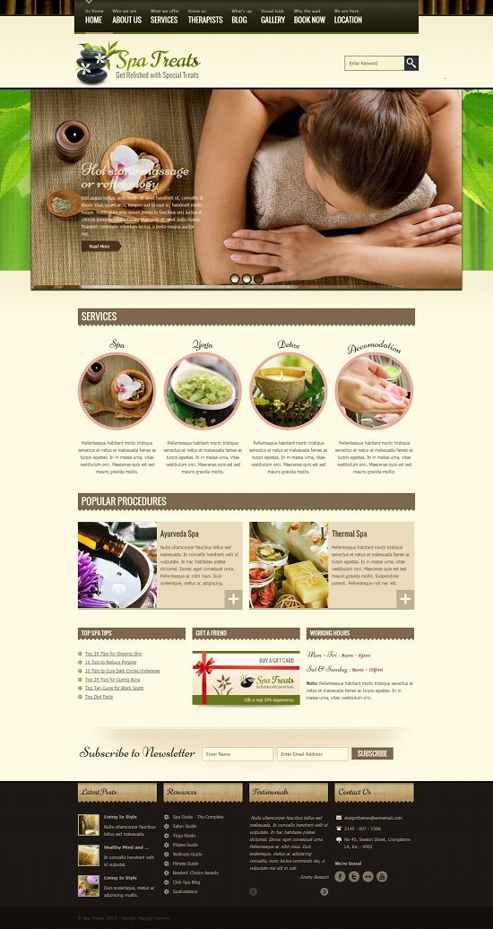 Spa Treats – A Health / Spa Salon HTML Template