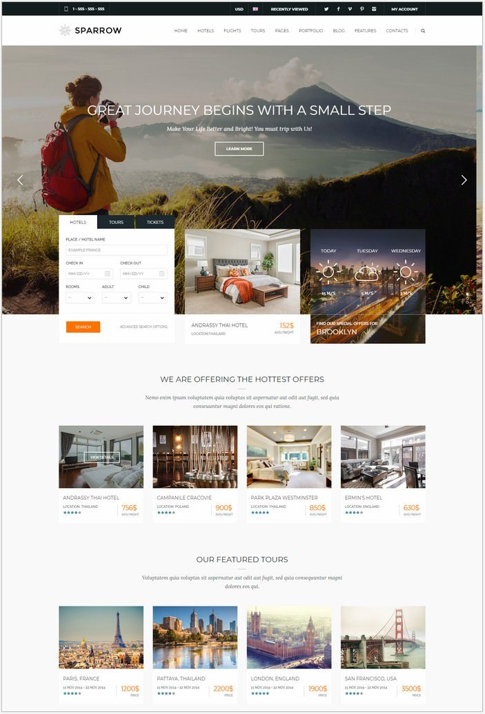 Sparrow - Travel Online Booking Template