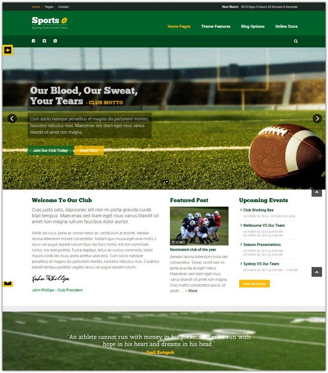Sport - WordPress Club Theme