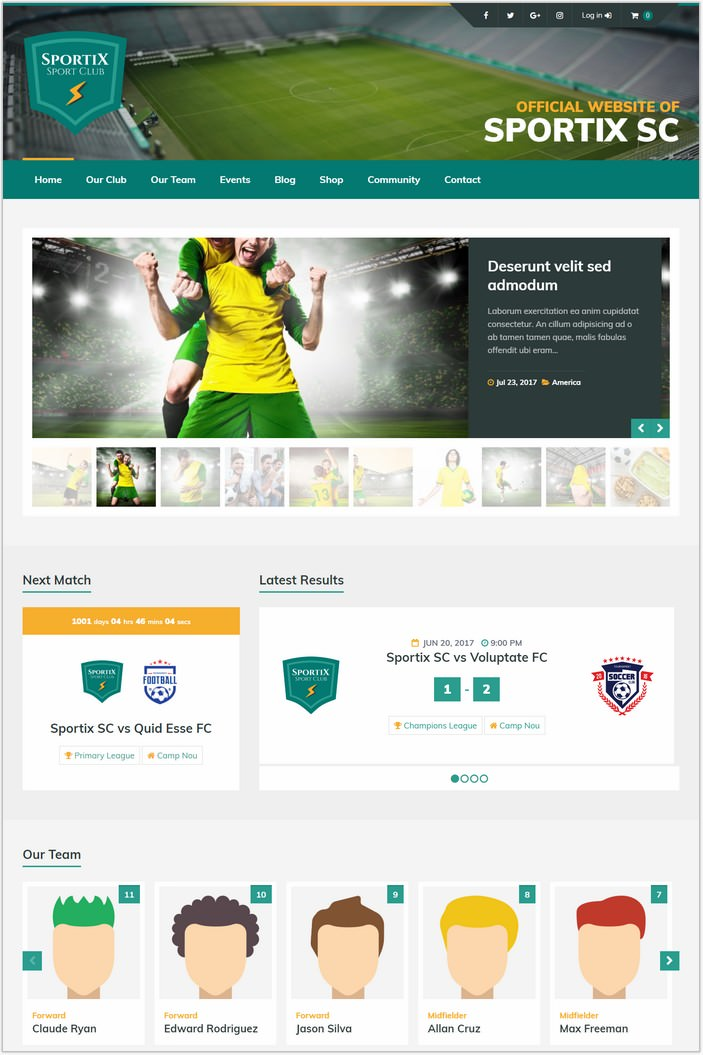 Sportix - WordPress SportsPress Theme