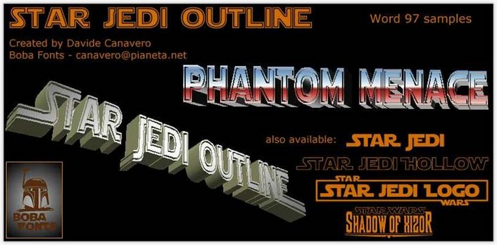 Star Jedi Outline Font - by Boba Fonts
