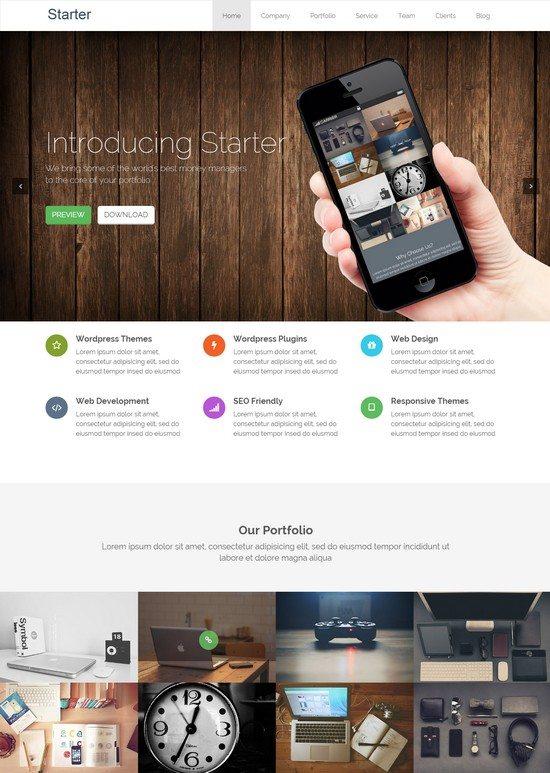 Starter – Responsive WordPress Onepage Theme
