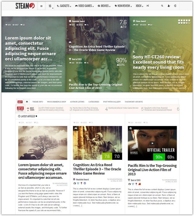 Steam - Responsive Retina Review Magazine Theme