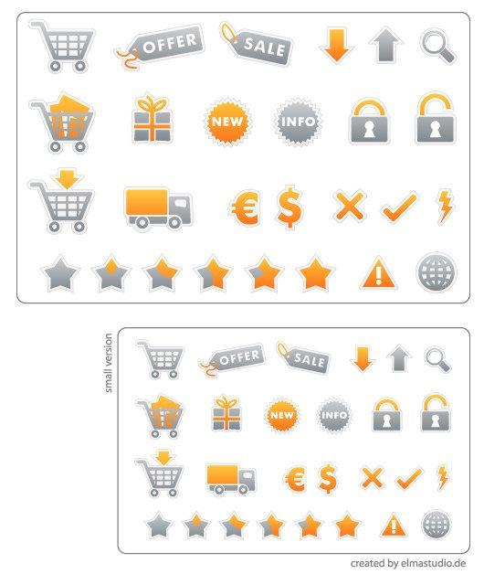 Stylish e-commerce icon set