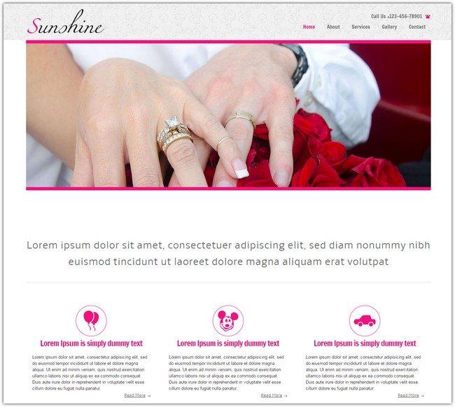 Sunshine a wedding planner Mobile Website Template