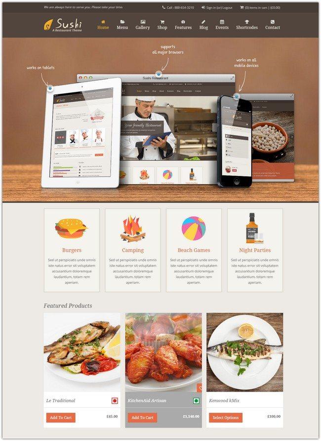 Sushi - Responsive Restaurant Theme