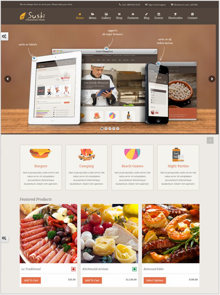 Sushi Restaurant-Food & Restaurant PHP Theme