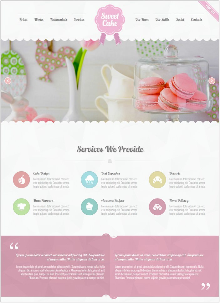 Sweet Cake - Responsive HTML5 One Page PHP Theme