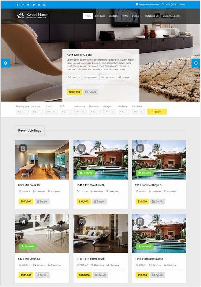 Sweethome – Responsive Real Estate WordPress Theme