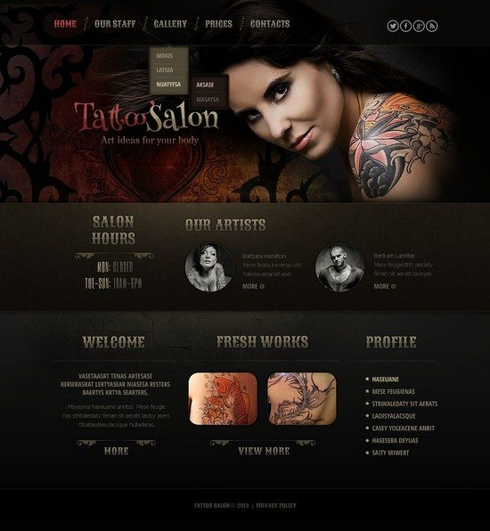 Tattoo Salon Responsive Website Template1