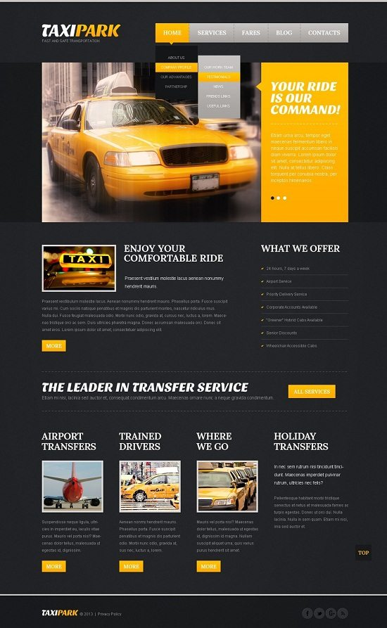 Taxi Park Website Template