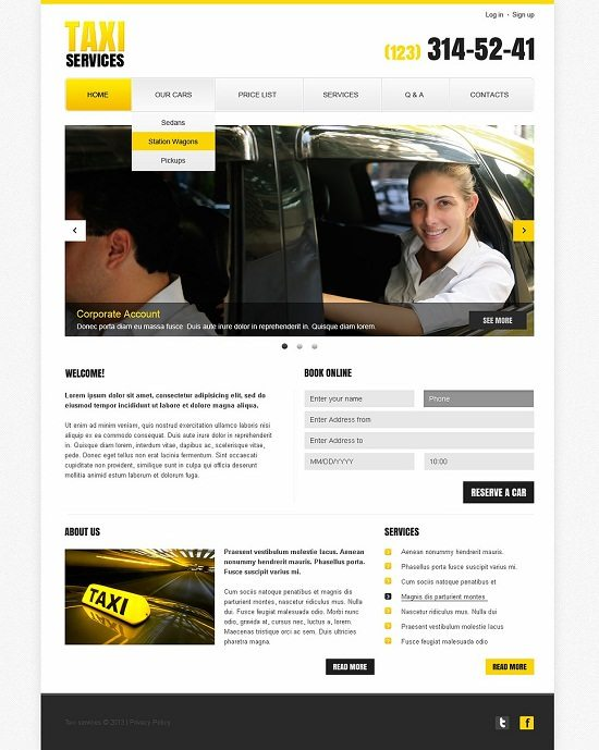 Taxi Responsive Services Website Template