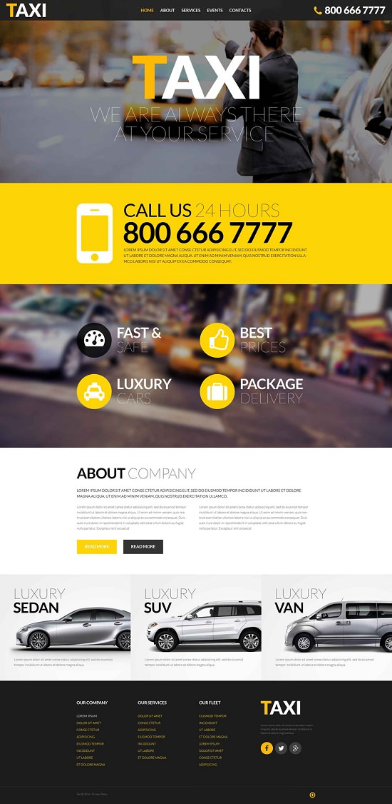 Taxi Services Responsive Website Template