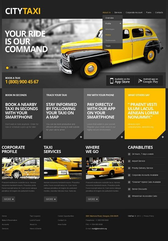 Taxi Website Template