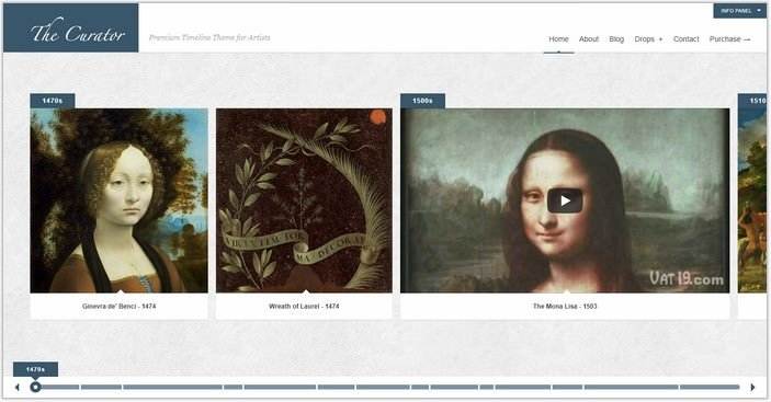 The Curator Premier WP Timeline Theme for Artists