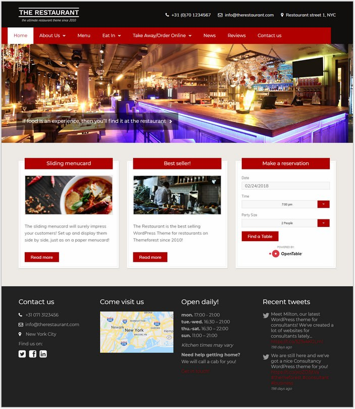 The Restaurant PHP Template