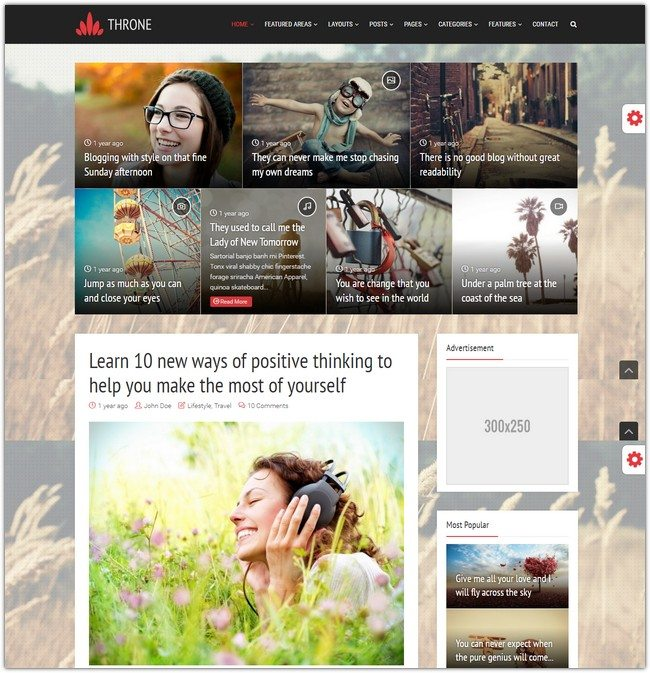 Throne - Personal Blog Magazine WordPress Theme