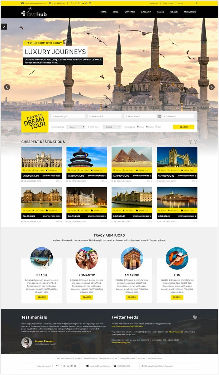 Travel Hub - Touring Packages - HTML Template