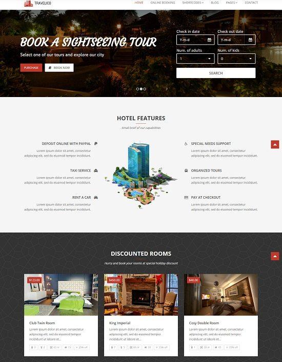 Travelico Hotel Booking & Presentation WP Theme