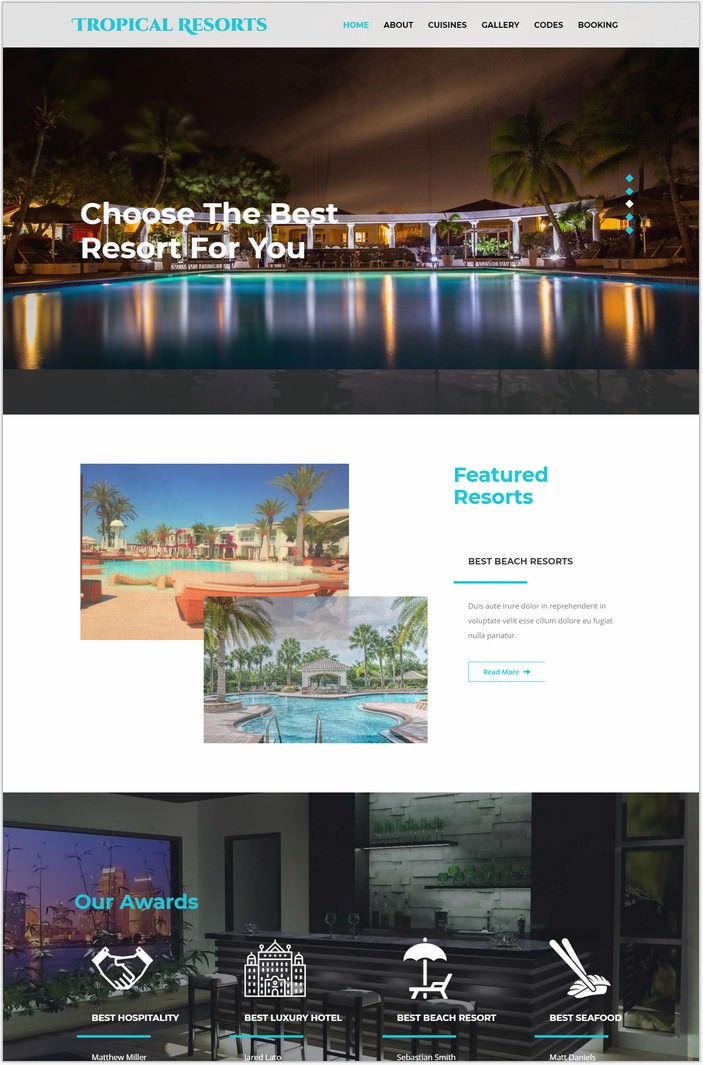 Tropical Resorts a Hotels Responsive Web Template