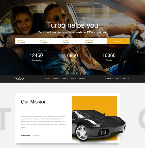 Turbo - Car Rental HTML Template